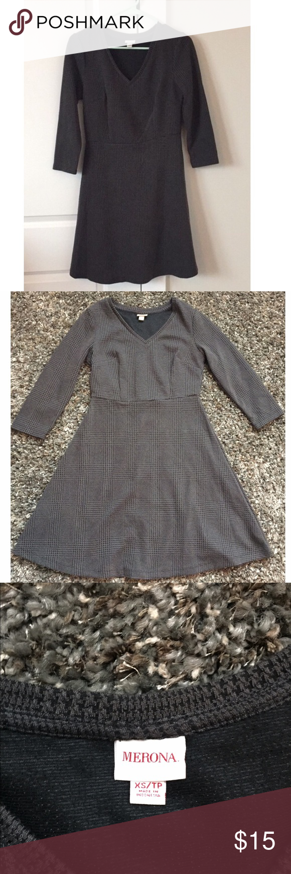 Gray and black houndstooth dress Like new condition. Perfect dress for fall/winter. Merona Dresses Long Sleeve