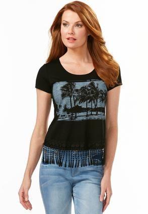 Cato Fashions Sunset Beach Fringe Skimmer Top #CatoFashions