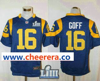 02893ad00 Men s Los Angeles Rams  16 Jared Goff Royal Blue 2019 Super Bowl LIII Patch  Alternate NFL Nike Game Jersey