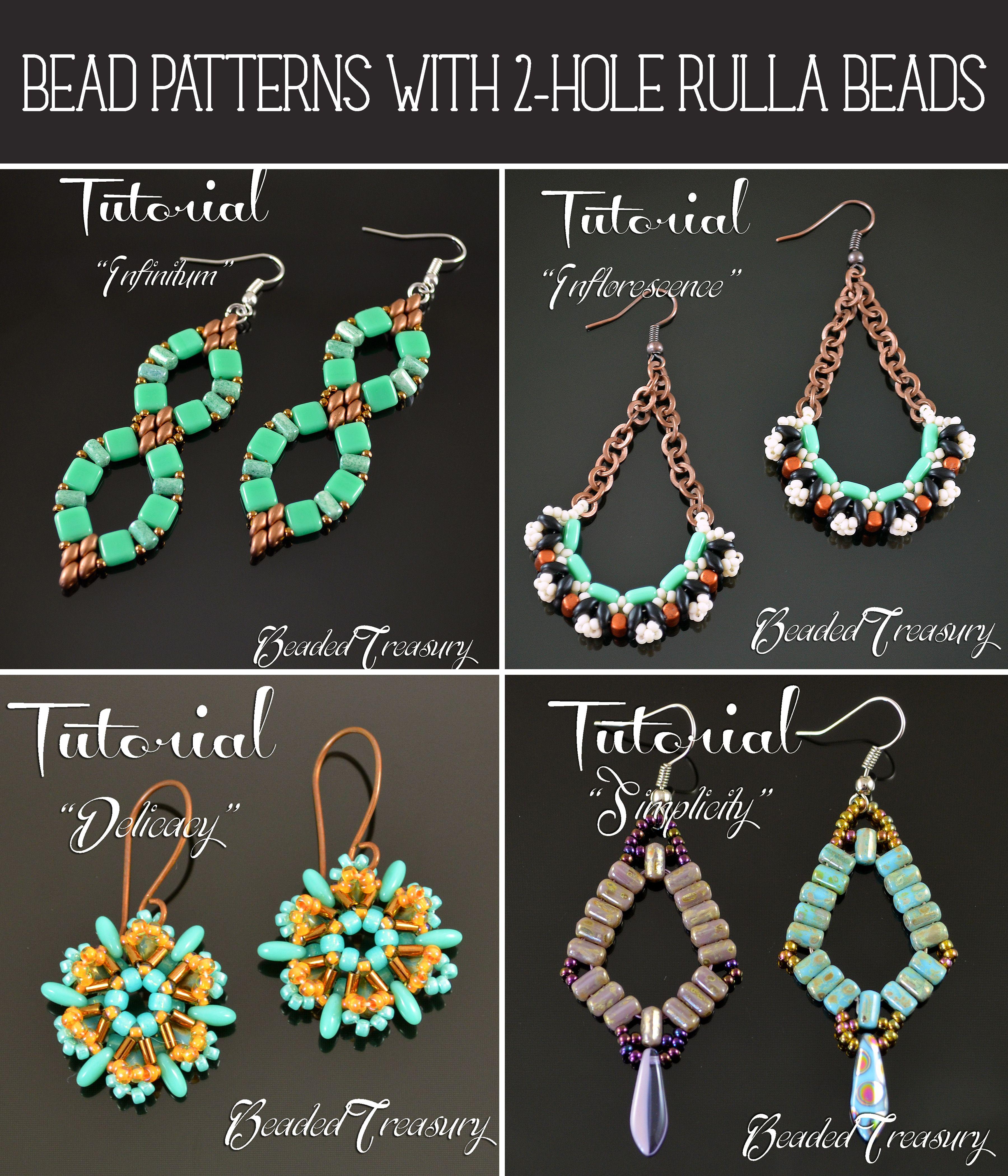 Beadwoven earrings tutorials by BeadedTreasury.