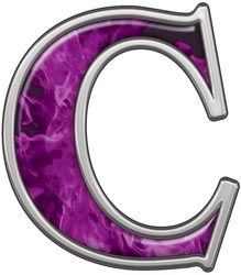Reflective Letter C with Inferno Purple Flames | pattern ...