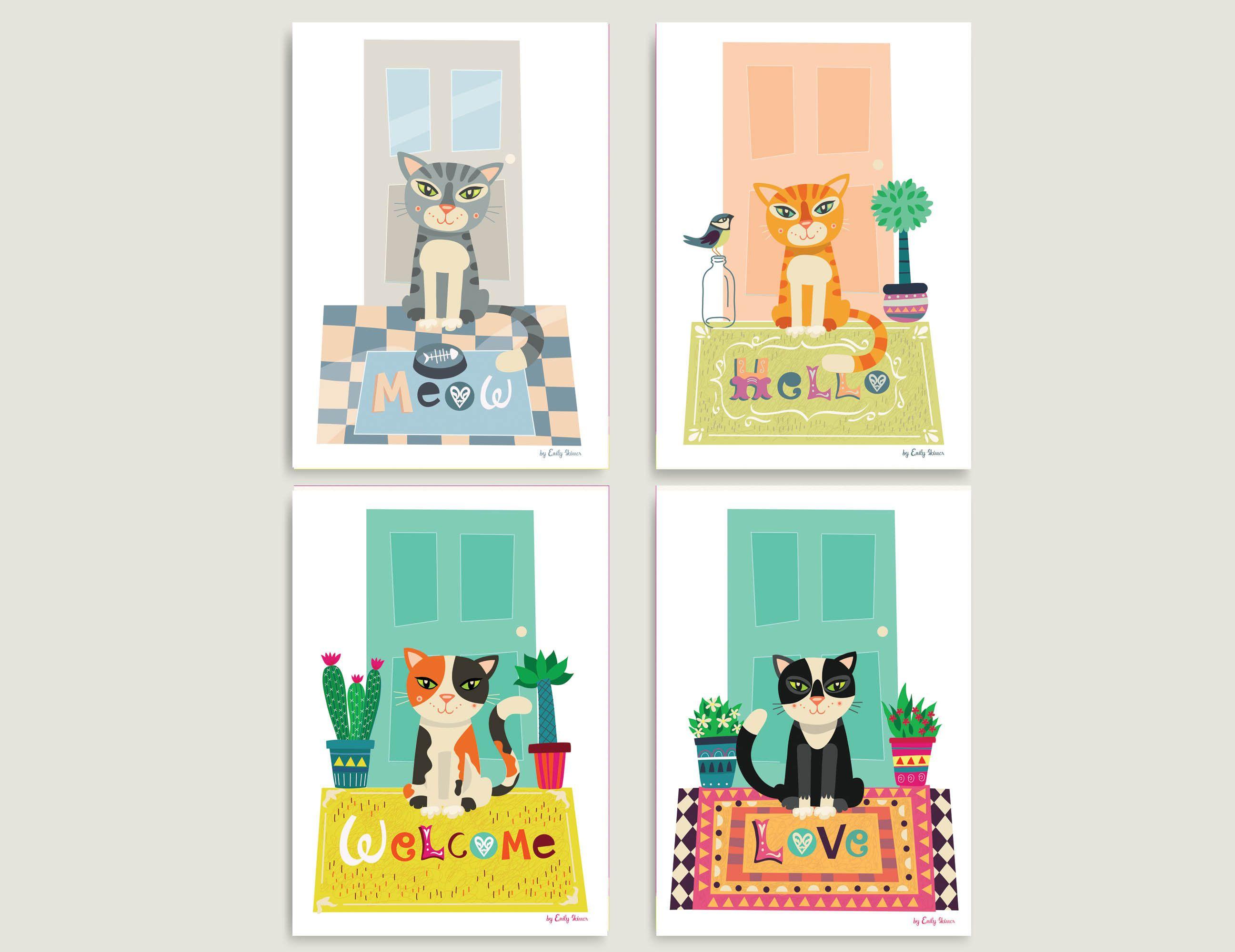 4 Cat Art Prints For Children By Emily