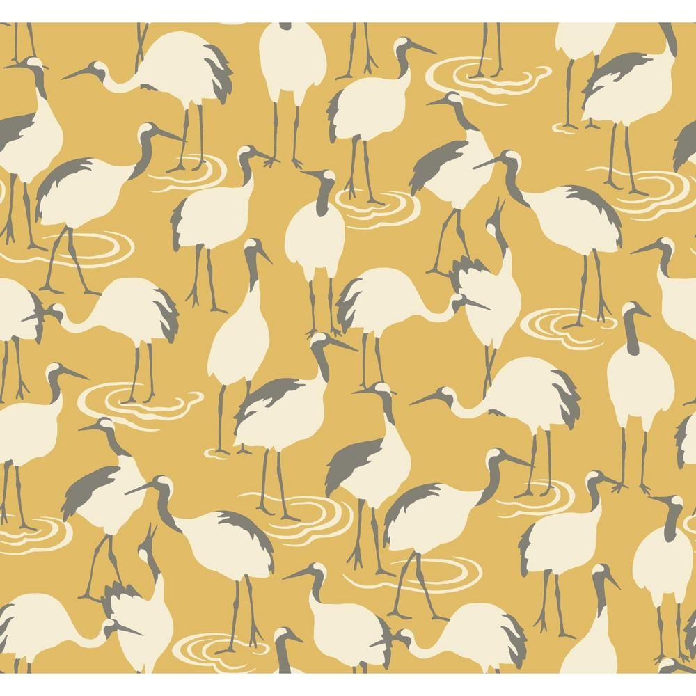 York Wallcoverings Dwellstudio Winter Cranes Wallpaper Citrine In
