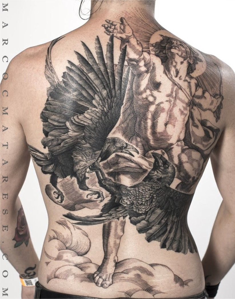 All back tattoo, ranevs and Apollo etching style Marco C. Matarese ...