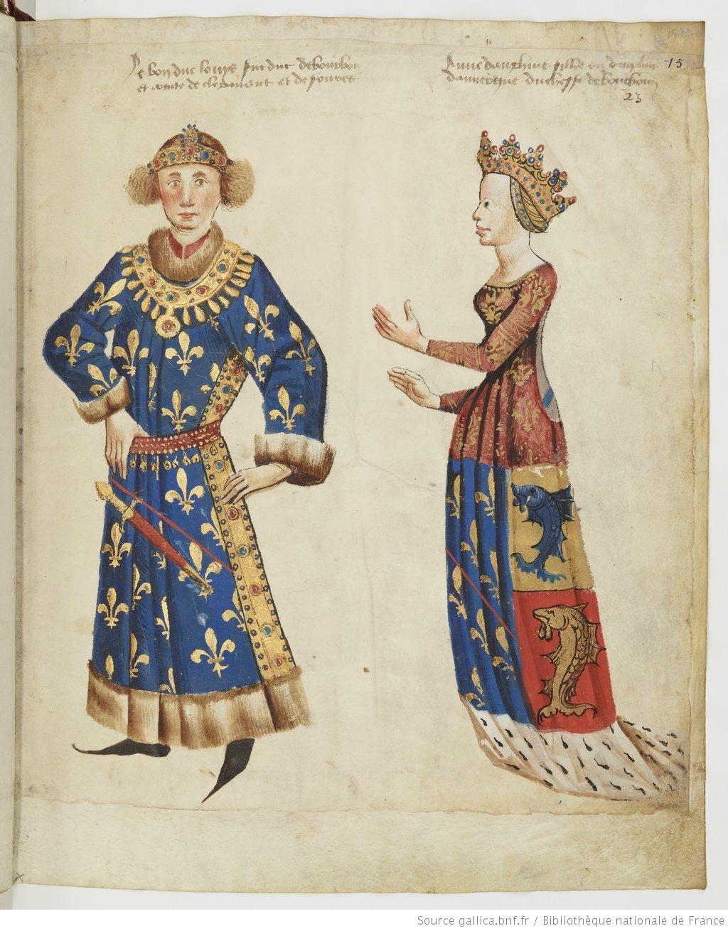 Louis Ii Duc De Bourbon Comte De Forez Et Anne Dauphine D Auvergne Comtesse De Forez Registre D Armes Ou Armo Medieval Garb Historical Art Medieval Art