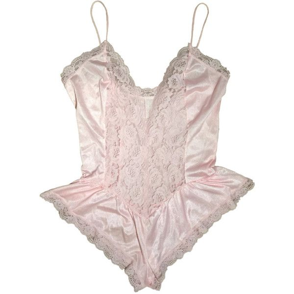 3a664c9287 90s Pastel Pink Satin and Lace Ruffled Teddy Bodysuit Lingerie... (€21) ❤  liked on Polyvore featuring intimates