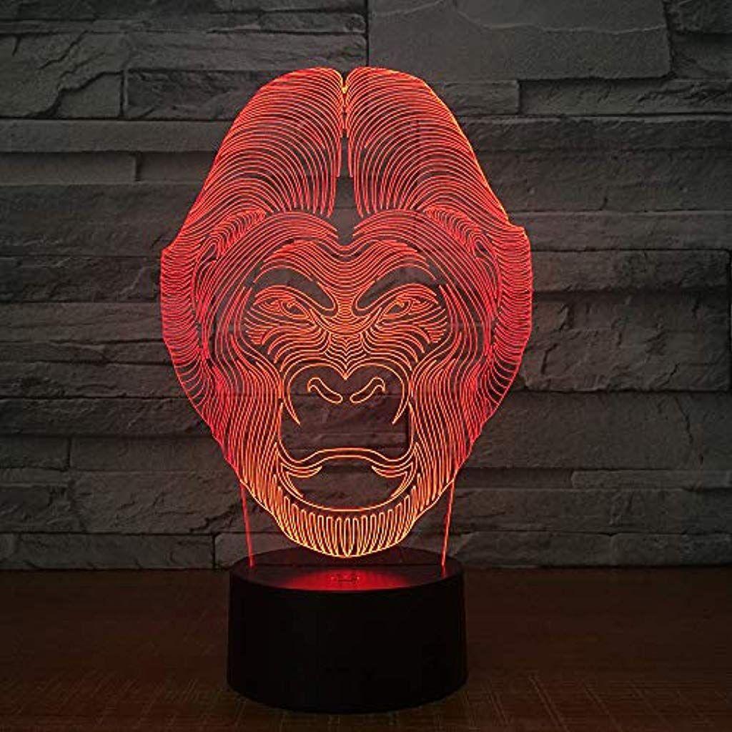 Jyhw Schimpanse 3d Lampe 7 Farbwechsel Tiere Wirkung Orang Utan Formige Lampe Affen Licht Led Nachtlampe Mit Touch Schreibti Nachtlampen Nachtlicht Farbwechsel