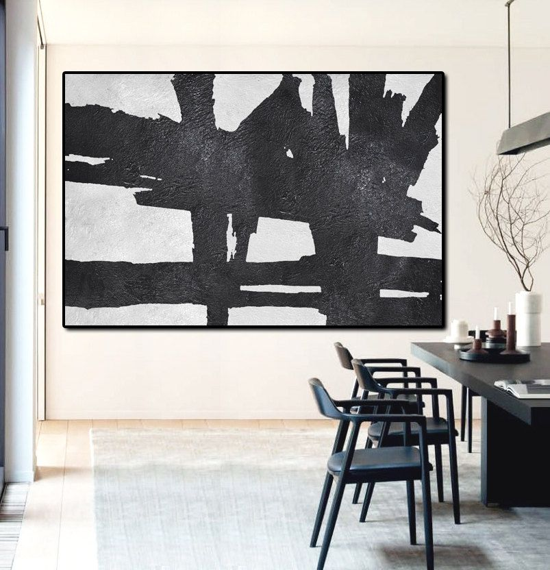Hand Painted Extra Large Abstract Painting, Horizontal Acrylic Painting Large  Wall Art. Black And