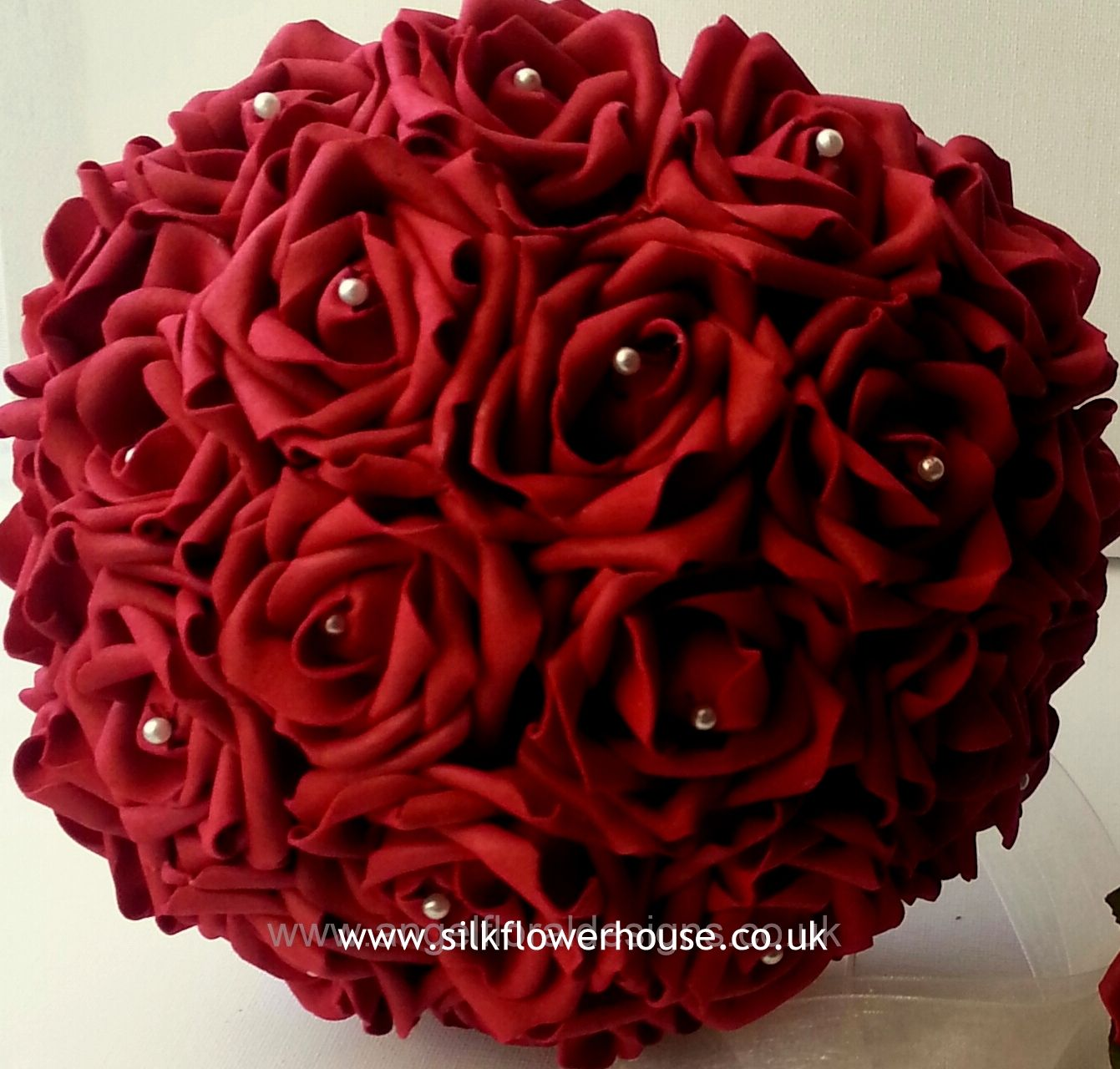Deep Red Artificial Rose Bridal Bouquet With Pearl Centres Www