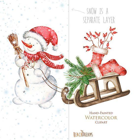 schneemann aquarell weihnachten clipart feiertagssatz. Black Bedroom Furniture Sets. Home Design Ideas