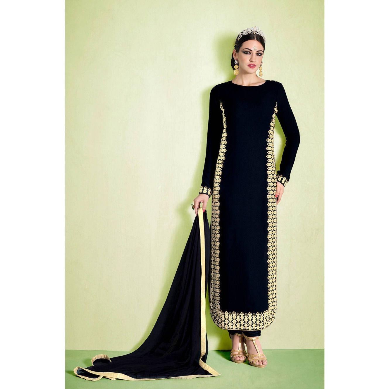 Long black salwar kameez nakkashi elegant collection long black