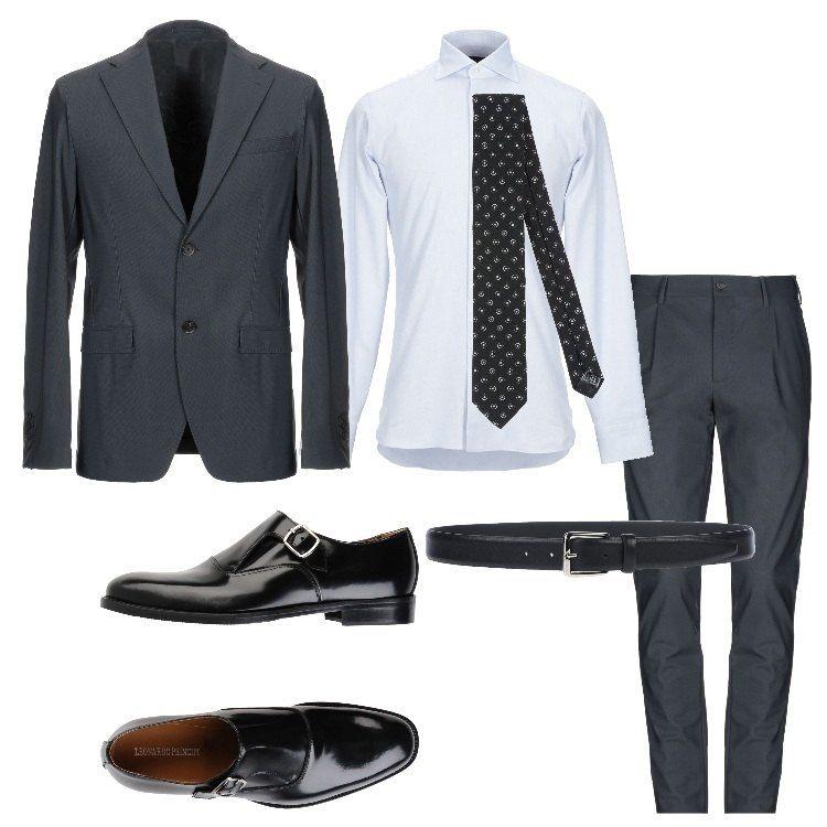 camicia con giacca nera