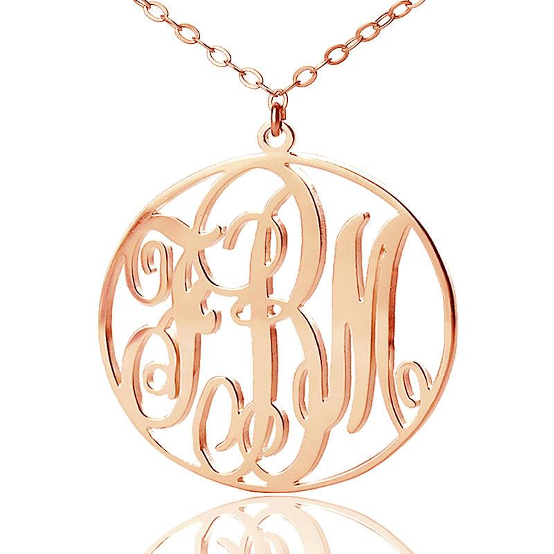 Custom Initial Necklace,Initial Monogram Necklace Personalized Monogram Necklace Silver Vine Script Necklace,Nameplate Initial Necklace
