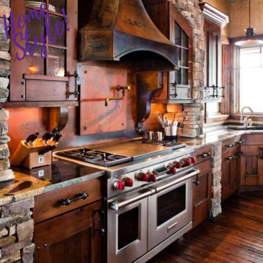 What Do You Think About This Rustic Steampunk Look Of This Kitchen In 2020 Rustic Kitchen Farmhouse Style Kitchen Cabinets Kitchen Decor