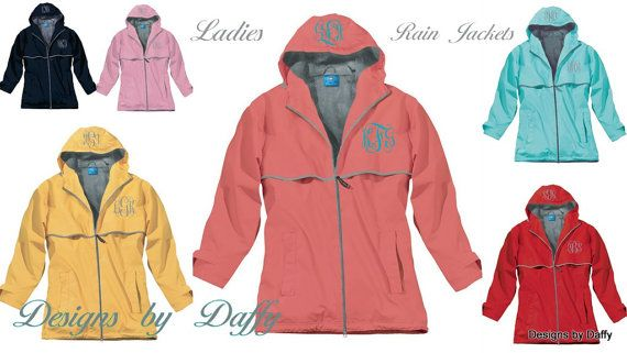 Monogrammed Rain Jacket  Personalized Adult by DesignsbyDaffy, $62.95