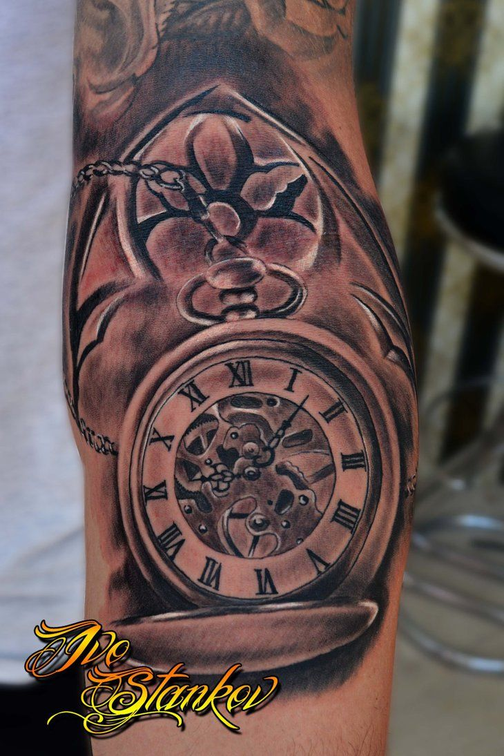c832ccfd9352e 15 Wonderful Clock Tattoos | Hourglass, Pocket watch, Compass ...