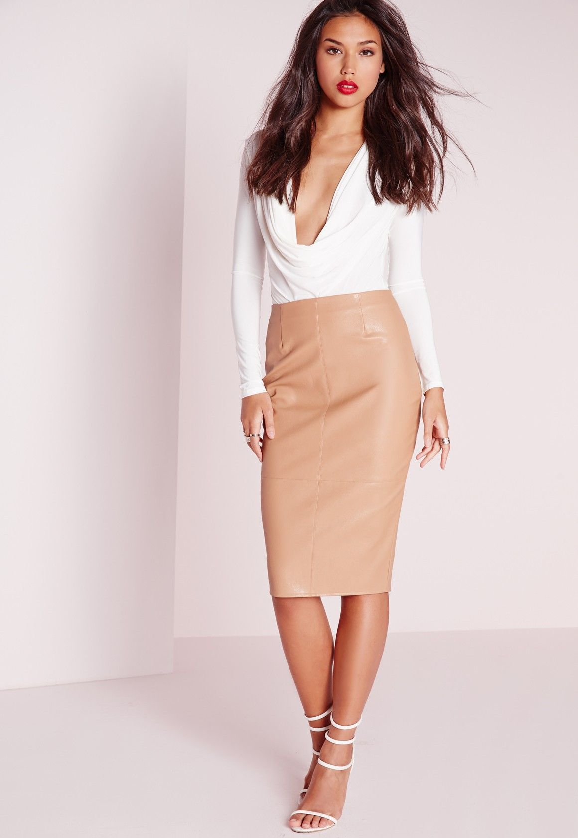 ef402df63a Missguided - Faux Leather Seam Detail Midi Skirt Camel | 0 0 0 A ...