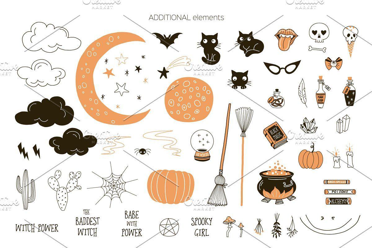 Witch Power Halloween Clip Art Set In 2020 Pattern Art Halloween Clips Halloween Clipart