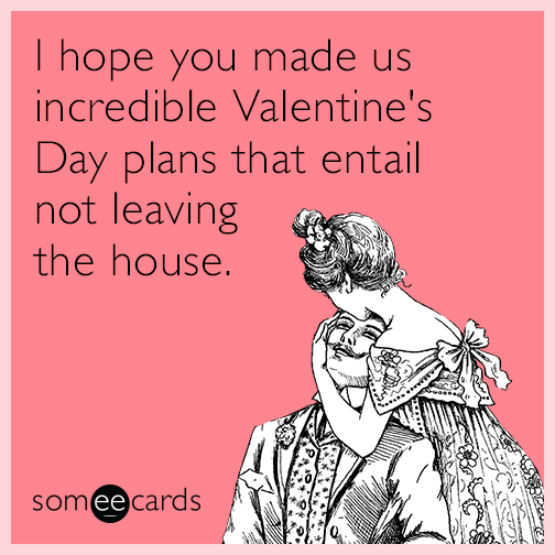 I Hope You Made Us Incredible Valentine S Day Plans That Entail Not Leaving The House Valentines Day Memes Valentines Quotes Funny Valentines Day Ecards