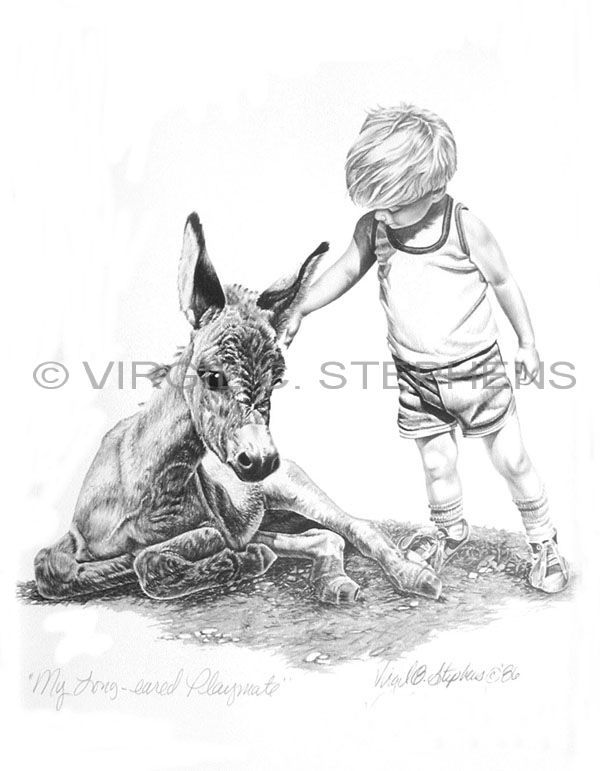My Longeared Playmate, children series of little boy and his donkey pencil drawing by western Artist Virgil C. Stephens