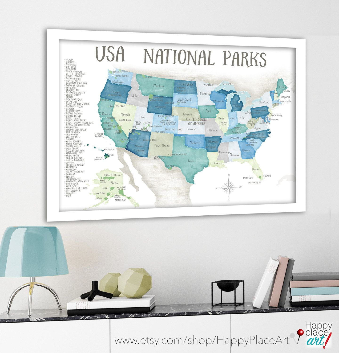 National Park Checklist And Map For Pins Usa Push Pin Map Foam Mounted Gift For Hiker Or Nature Lover Adventure Awaits Us Map For Kids Happyplaceartma En 2020 Motif