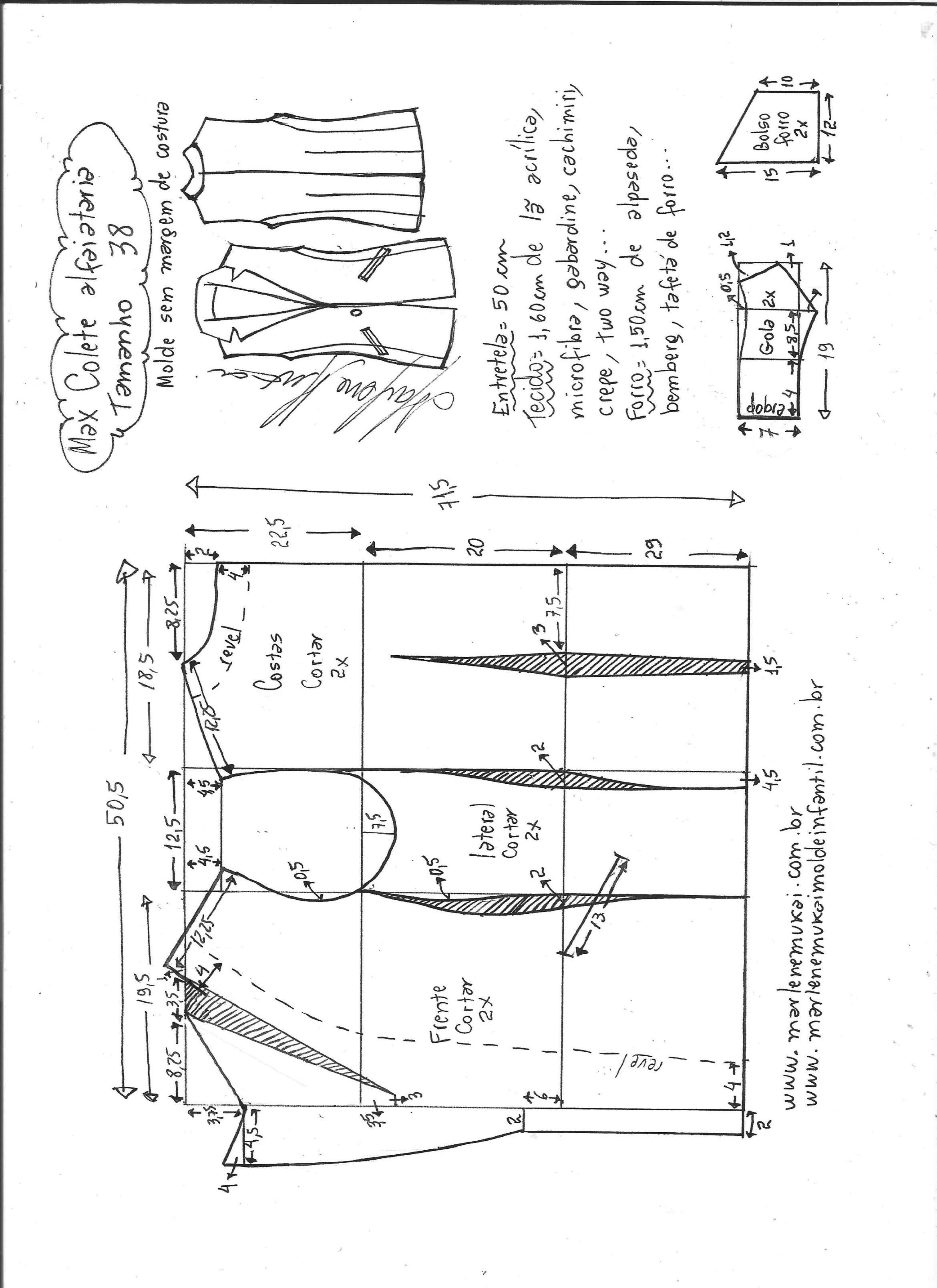 Max colete alfaiataria | Molde, Costura y Lecciones de costura