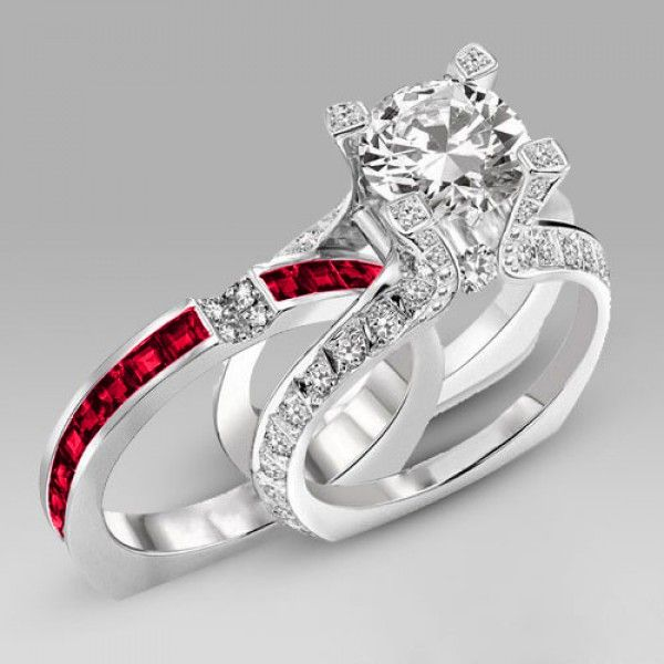 Brilliant Cut Created Ruby Two In One Sterling Silver Engagement Ring Bridal Set