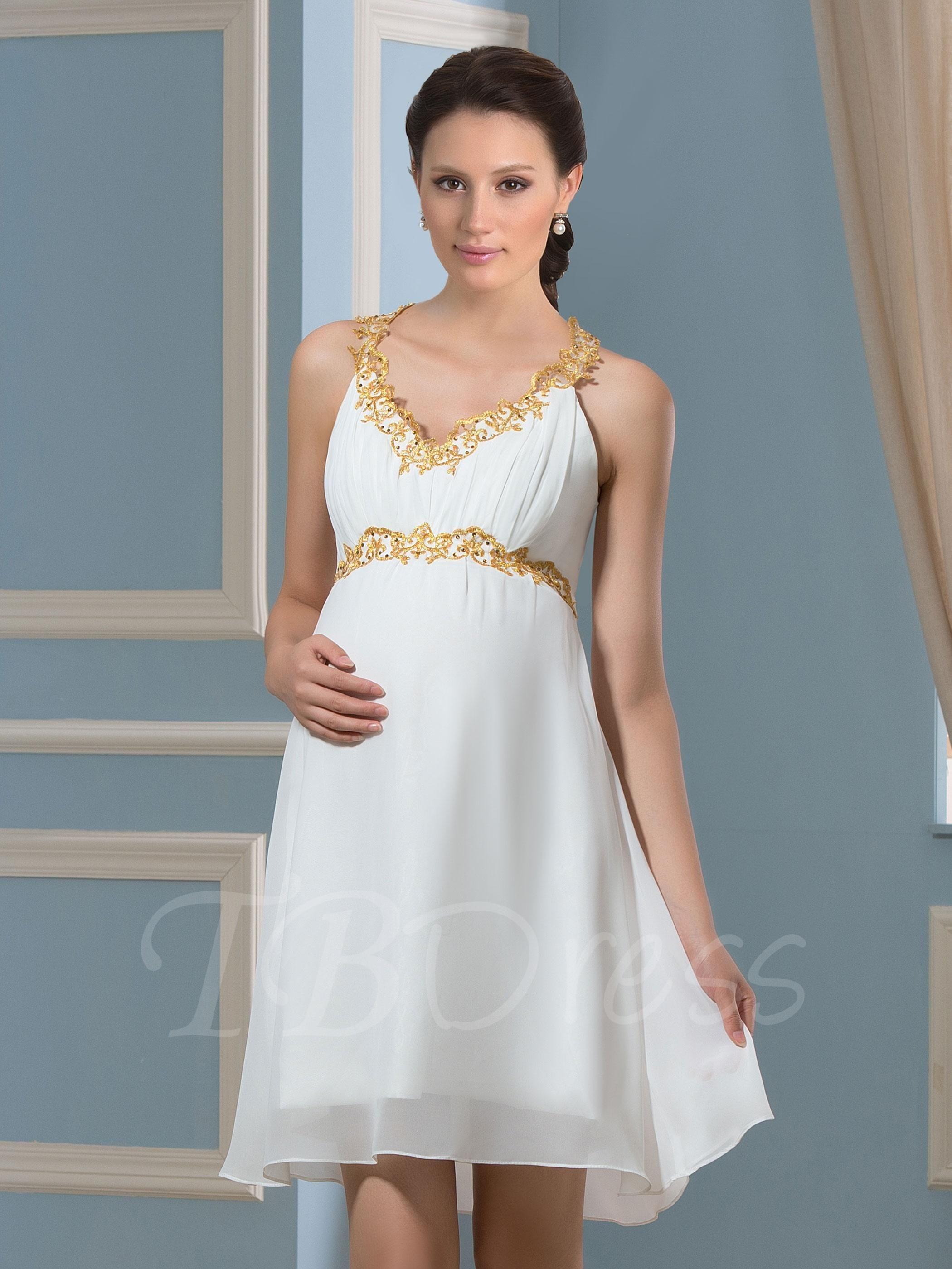 White maternity wedding dress  Beach Spaghetti Straps Short Appliques Chiffon Maternity Wedding