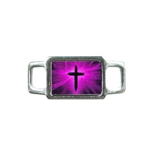 Faith Rectangle Charm - Cross (Pink)