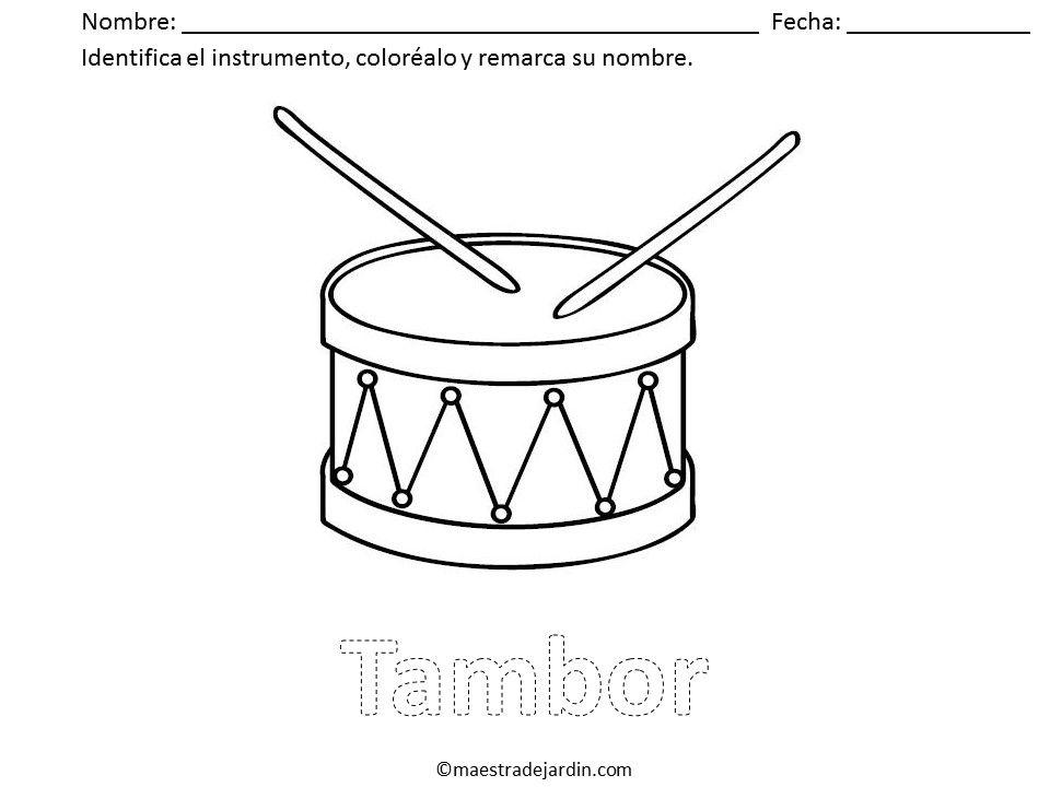 Instrumentos musicales para colorear | Materiales para preescolar ...