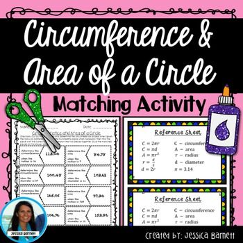 Circumference And Area Of A Circle Matching Activity Area Of A