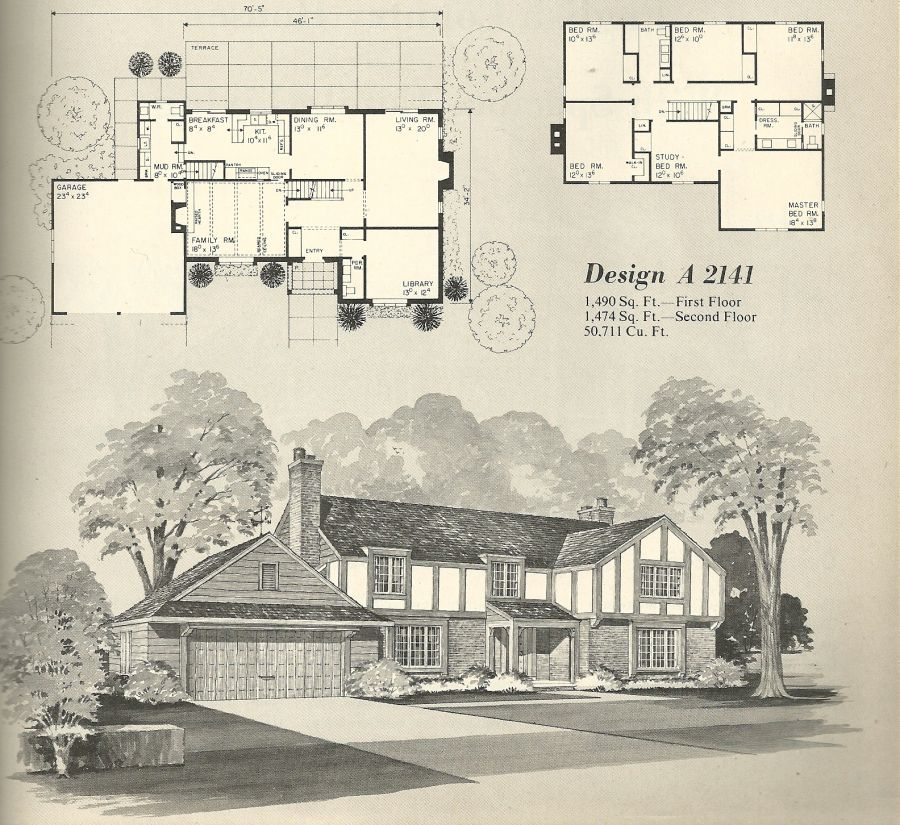 Vintage House Plans, 1970s homes, Tudor style | House plan stuff ...