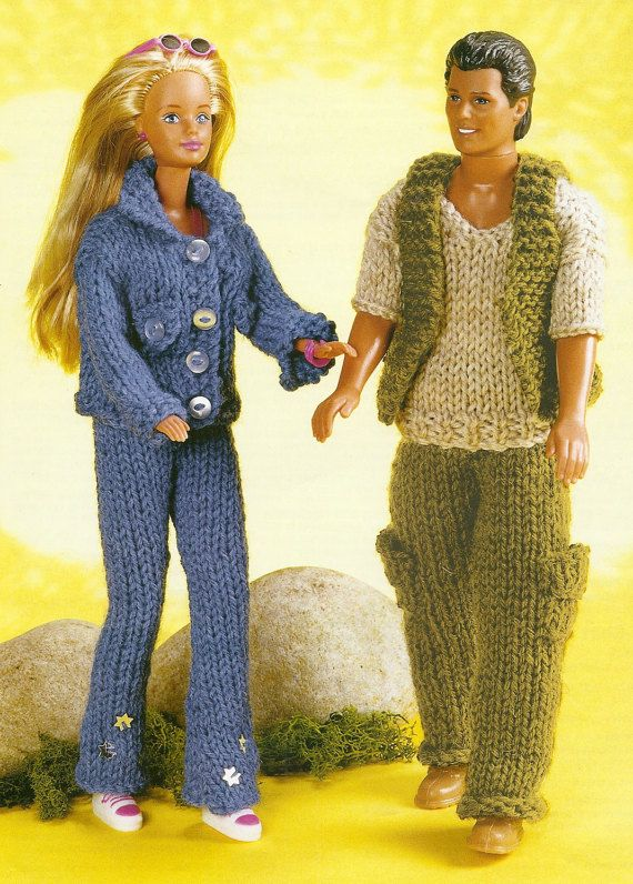 Knitting Pattern Barbie Doll Jeans And Jacket Ken Man Doll Combat