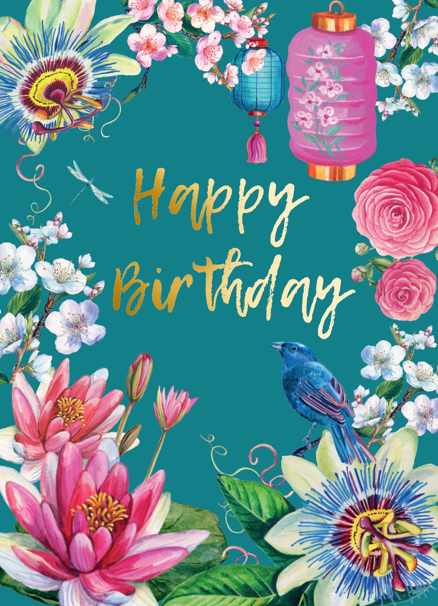 happy birthday flowers and gold card in 2021  happy