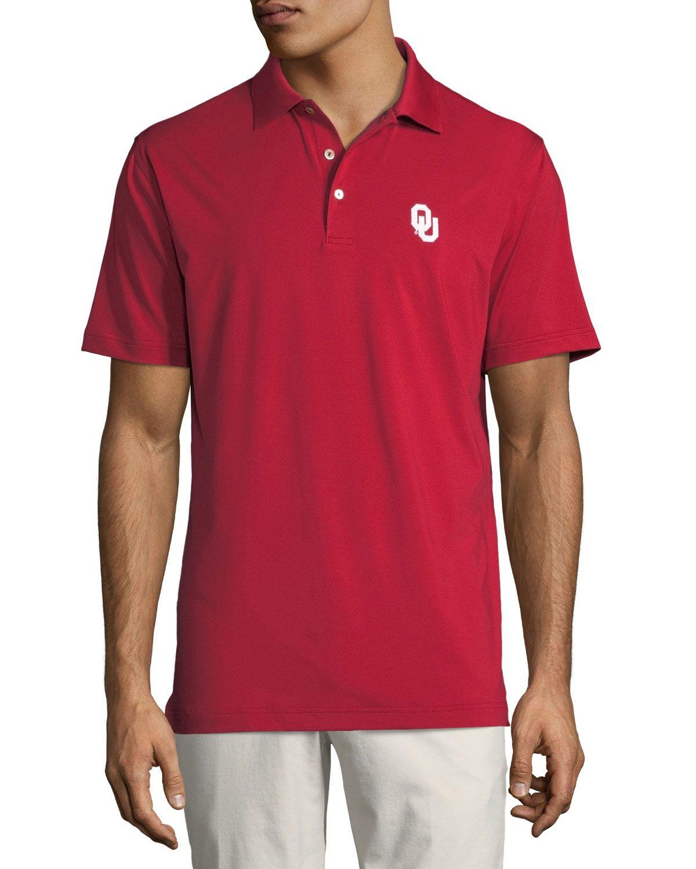 Peter Millar Mens Oklahoma University Solid Polo Shirt Crimson