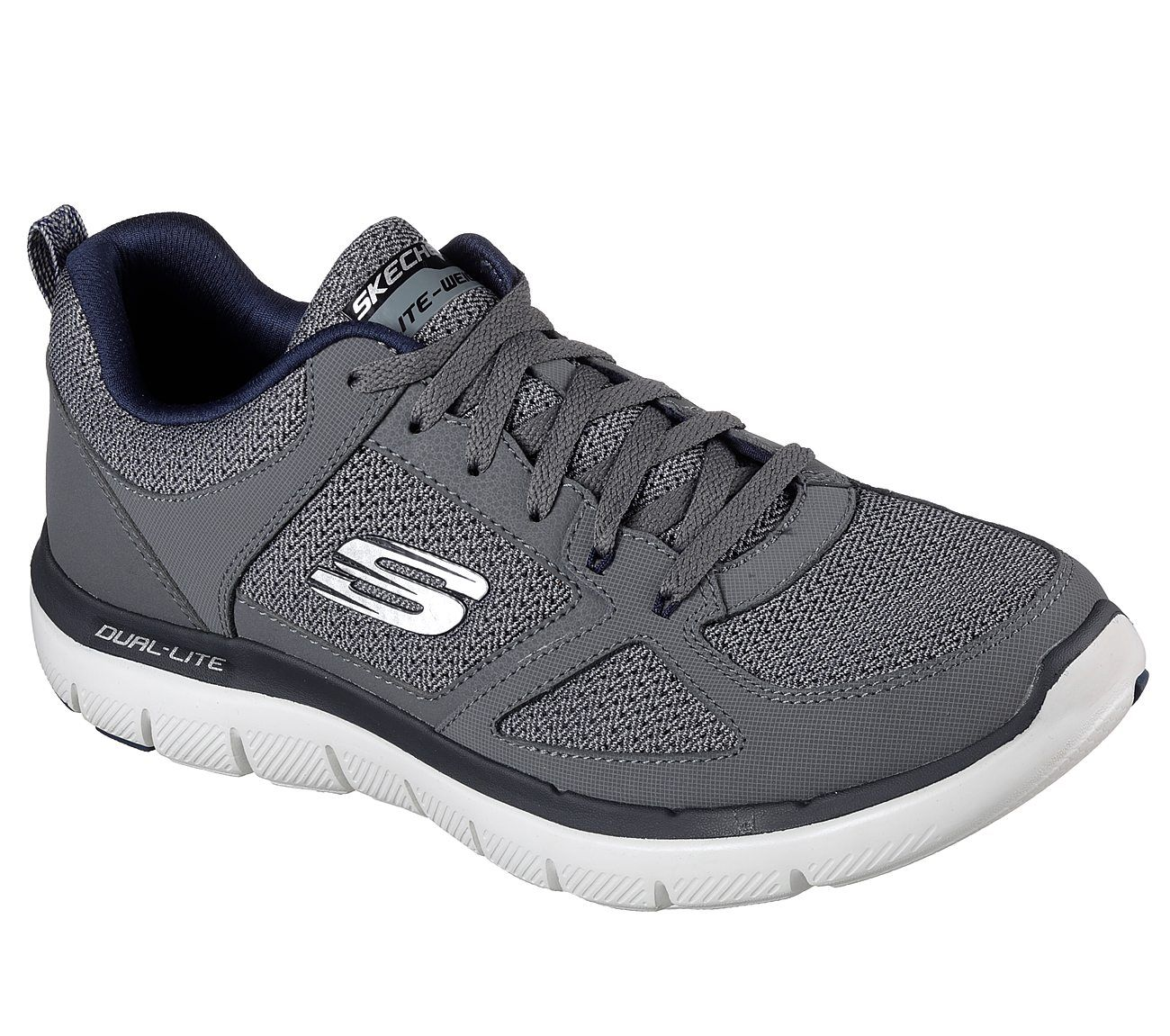 SKECHERS SPORT 8M GRAY LEATHER & TEXTILE WITH NAVY BLUE EXCELLENT CONDITION