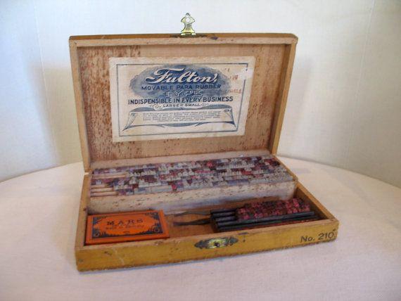 Vintage 1940s Rare Fulton Rubber Stamp Kit by VioletsEmporium
