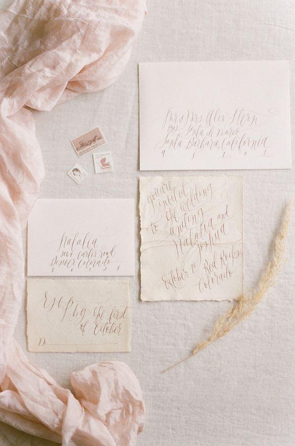 neutral calligraphy wedding invitations - photo by Tamara Gruner Photography http://ruffledblog.com/organic-blush-wedding-inspiration