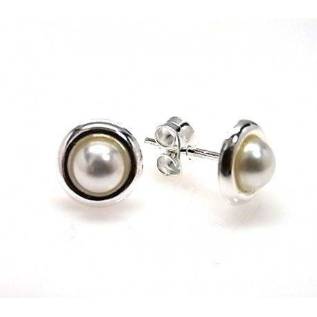 122ef4461727 Pendientes perla con filo de Plata de ley