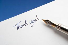 Sample Thank You Note Wording  Note