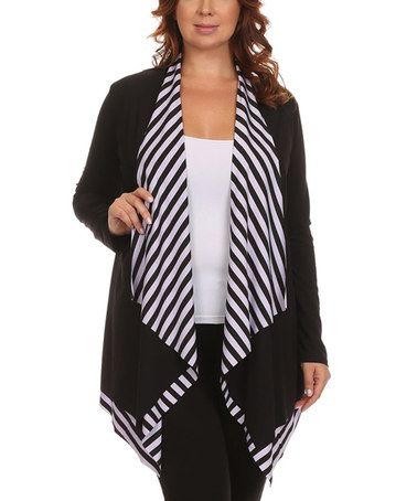 Look what I found on #zulily! Black & White Stripe Layered Open Cardigan - Plus #zulilyfinds