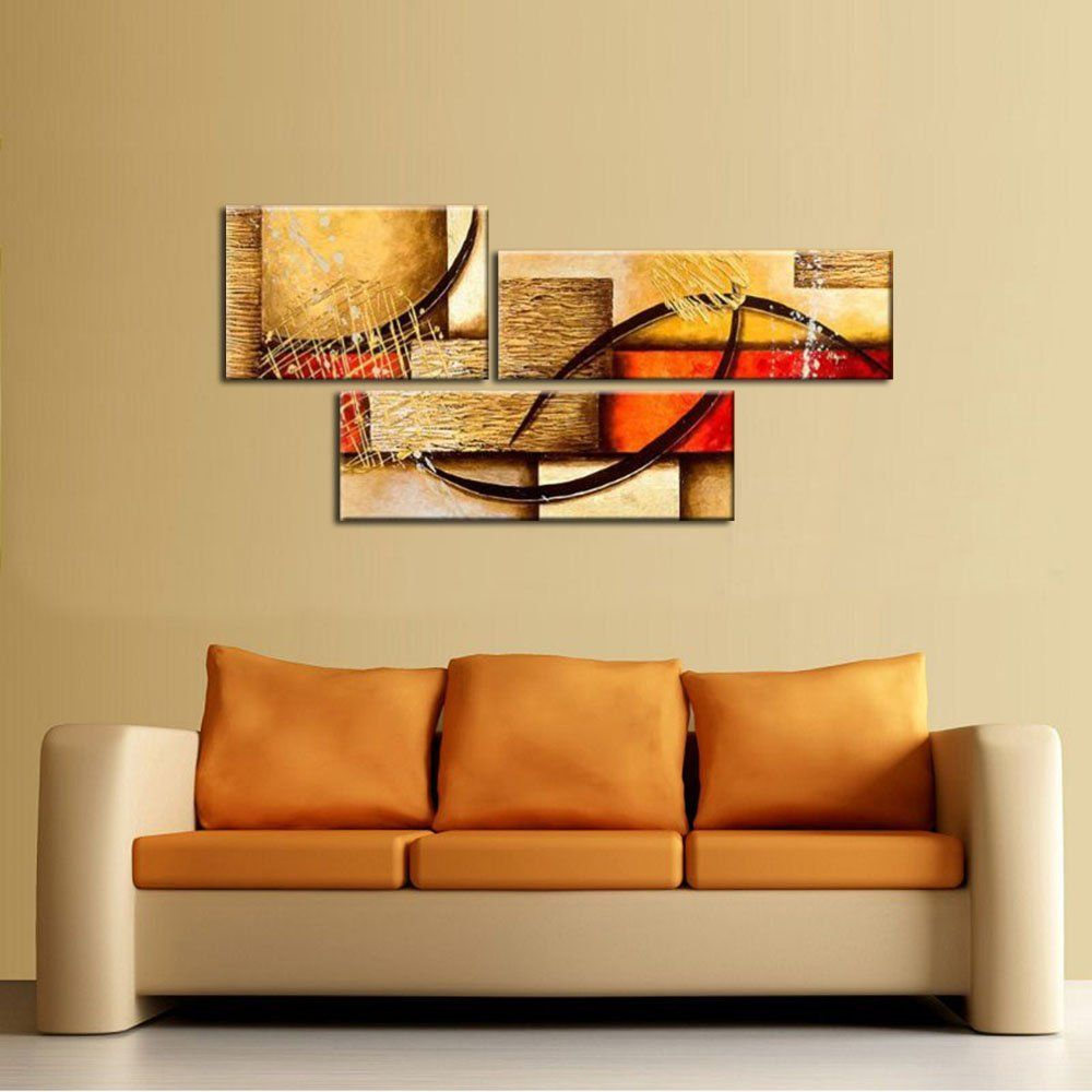 3 Pics Modern Abstract 100% Hand Painted Oil Paintings Artwork on ...