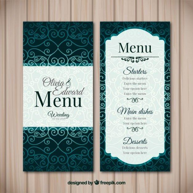 Elegant vintage menu for wedding Free Vector M E N U - D E S I G N - fresh invitation banner vector