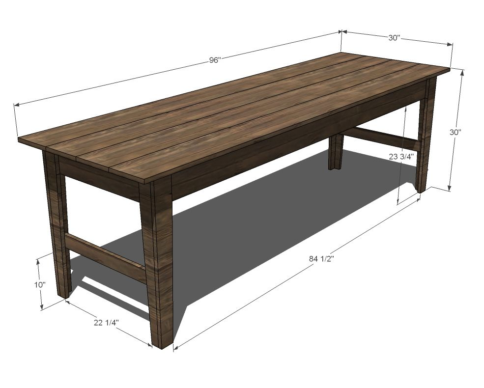 Ana white build a narrow farmhouse table free and easy for Table design outdoor