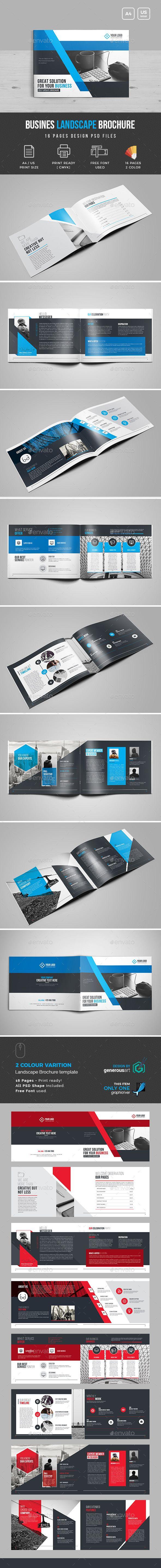 Landscape Bi-Fold Brochure Template   Diseño de catálogos, Folletos ...