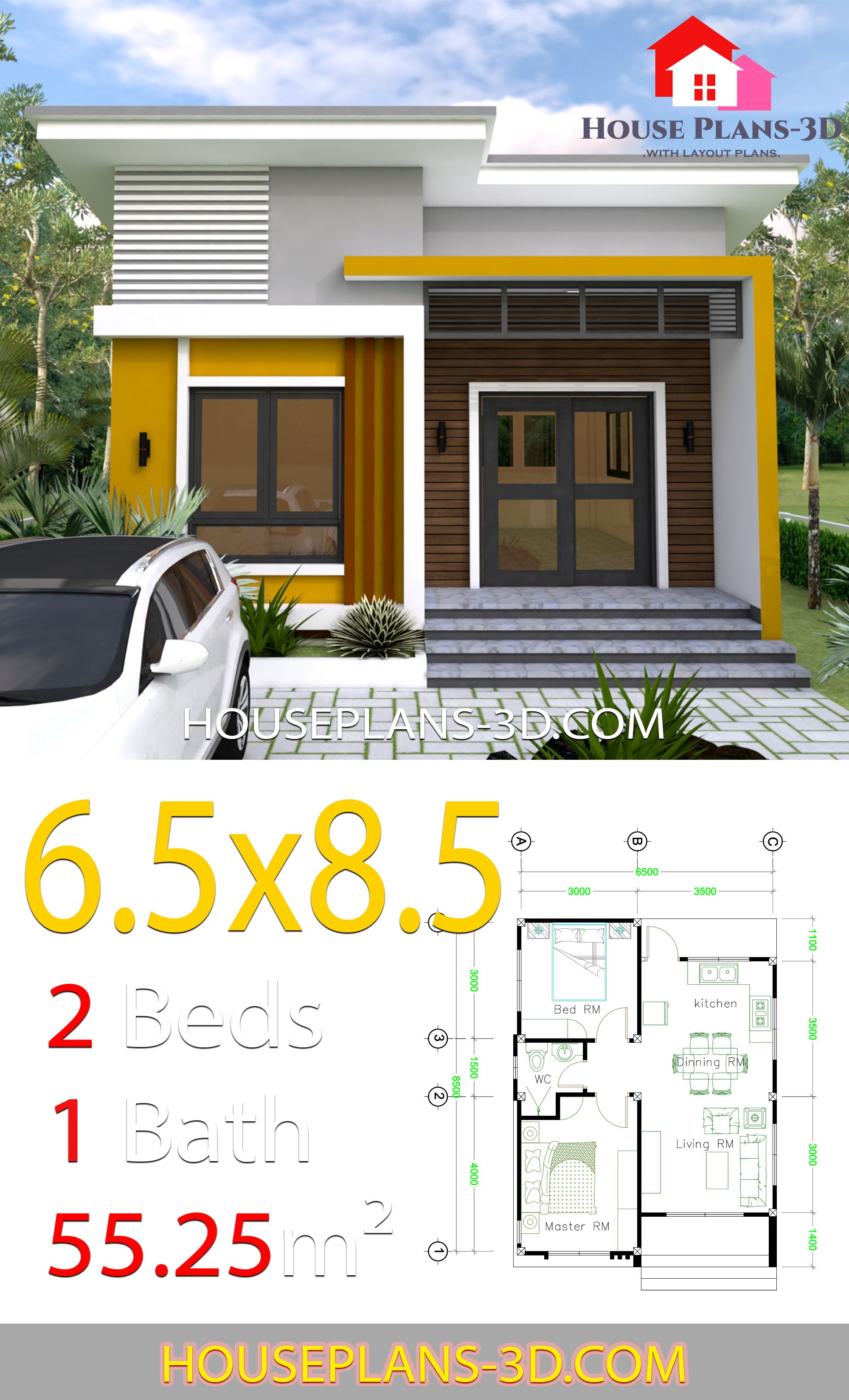 Small House Design 6 5x8 5 With 2 Bedrooms House Plans 3d House Front Design House Plans Small House Design Plans