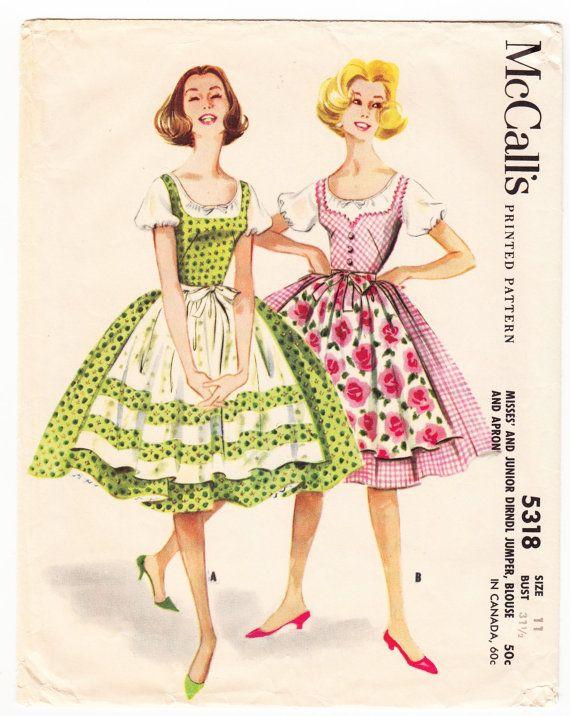 McCall\'s 5318 (1960)   austrian   Pinterest   Dirndl, Karo und ...