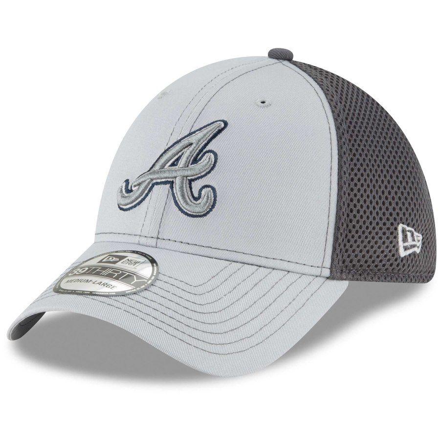Atlanta Braves New Era Grayed Out Neo 39thirty Flex Hat Gray Atlanta Braves New Era Hats For Men