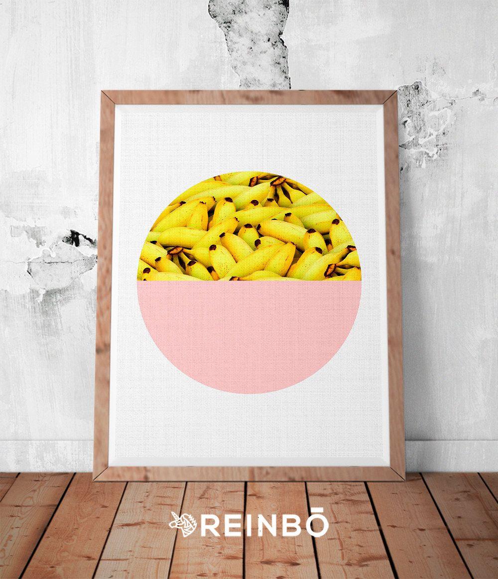 Banana Print, Tropical Fruit Wall Art, Kitchen Decor, Printable ...