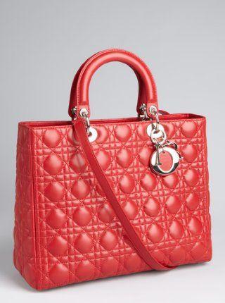 Christian Dior  red cannage leather  Lady Dior  medium tote ... a2a49db595342
